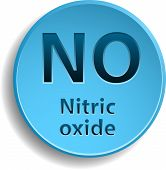 stock photo of oxidation  - Blue button with nitric oxide - JPG