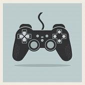picture of controller  - Computer Video Game Controller Joystick on Retro Background Vector - JPG