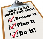 foto of goal setting  - Get What You Want Price Checklist Clipboard Steps - JPG