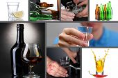 stock photo of forlorn  - Collage of alcoholism close - JPG