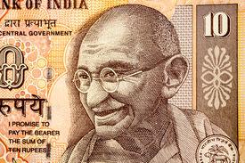 picture of gandhi  - Mahatma Gandhi or Mohandas Karamchand Gandhi picture on Indian Rupee Currency note - JPG