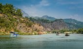 stock photo of dalyan  - Excursion tour on Dalyan river valley - JPG