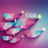 picture of diya  - Vector Polygonal Diwali Diya  - JPG