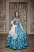 pic of medieval  - Beautiful young woman in blue long medieval dress - JPG