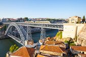 stock photo of dom  - Dom Luiz bridge in Porto Portugal - JPG