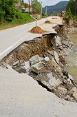 pic of landslide  - Destroyed road landslide damaged in powerful flood - JPG