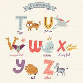 stock photo of letter t  - Cute zoo alphabet in vector - JPG