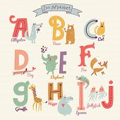 stock photo of letter b  - Cute zoo alphabet in vector - JPG
