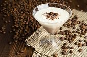 pic of panna  - chocolate and vanilla panna cotta with coffee beans - JPG