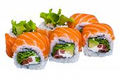 stock photo of sushi  - Salmon sushi rolls isolated on white background