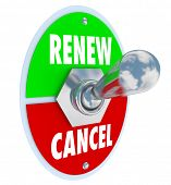 stock photo of toggle switch  - Renew Vs Cancel words on a toggle switch offering the choice for renewal or cancellation of a product or service - JPG