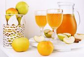 foto of cider apples  - Still life with tasty apple cider and fresh apples - JPG