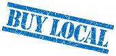 stock photo of local shop  - buy local blue square grungy isolated rubber stamp - JPG