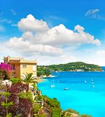 stock photo of beach-house  - beautiful mediterranean beach landscape view of luxury resort and bay of Villefranche - JPG
