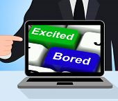 stock photo of excite  - Excited Bored Keys Displaying Exciting And Boring Websites - JPG
