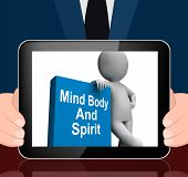 stock photo of holistic  - Mind Body And Spirit Book With Character Displaying Holistic Books - JPG