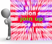 foto of joining  - Join Up Word Cloud Sign Showing Joining Membership Register - JPG