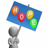 stock photo of hope  - Sign Hope Balloons Representing Wishes Dreams Goals and Hopes - JPG