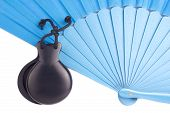 picture of castanets  - Blue Spanish flamenco fan with black castanets - JPG