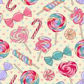 stock photo of lollipop  - Yummy colorful sweet lollipop candy cane seamless pattern with hearts - JPG
