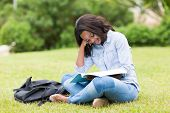 stock photo of afro  - pretty afro american university student studying outdoors - JPG