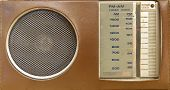 pic of transistor  - An old portable transistor radio in a brown plastic cover - JPG