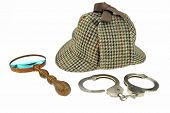 image of handcuff  - Detective Hat Retro Magnifier and Real Handcuffs Isolated on White Background - JPG