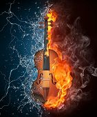 picture of violin  - Violin in Fire and Water Isolated on Black Background - JPG
