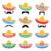 pic of fancy-dress  - Vector icons set of Sombrero isolated on white - JPG