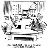 stock photo of negotiating  - Cartoon of business dog and lawyer man in negotiations - JPG