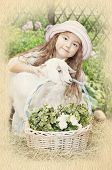 foto of baby goat  - A little girl with a baby goat - JPG