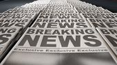stock photo of generic  - A long row of folded newspapers at the end of a press run with a generic headline that reads breaking news on the front page on an isolated white background - JPG