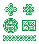 foto of celtic  - Set od traditional green Celtic symbols - JPG