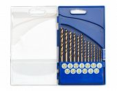 picture of drill bit  - set of drill bits for metal in a blue plastic case - JPG