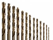 stock photo of drill bit  - set of drill bits for metal - JPG