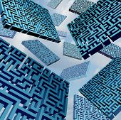 image of confuse  - Maze confusion concept as a group of three dimensional labyrinth pieces floating in the sky as a metaphor for confused direction choices or finding a solution - JPG