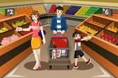 picture of supermarket  - A vector illustration of happy family shopping fruits in a supermarket - JPG
