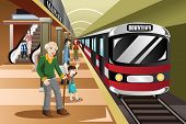 pic of passenger train  - A vector illustration of people waiting in a train station - JPG