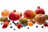 pic of apricot  - Wide variety of assorted whole fruit isolated on white - JPG