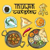 picture of indian food  - beautiful hand drawn illustration indian food top view - JPG