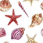 picture of beach shell art  - SeamleSeamless pattern with sea - JPG