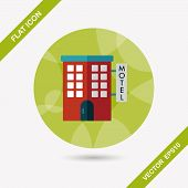 foto of motel  - Building Motel Flat Icon With Long Shadow - JPG