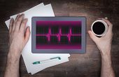 picture of electrocardiogram  - Electrocardiogram on a tablet  - JPG
