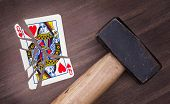 picture of broken heart  - Hammer with a broken card vintage look queen of hearts - JPG