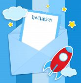 stock photo of spaceships  - Blue invitation card with envelope clouds and spaceship stickers - JPG