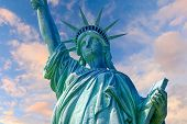 foto of statue liberty  - Statue of Liberty New York with lovely clouds in the background - JPG