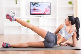 stock photo of slender  - Fitness workout healthy living and diet concept - JPG