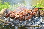 picture of charcoal  - Lamb meat roasting on charcoal closeup view - JPG