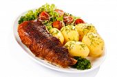 picture of roast duck  - Roast duck fillet and vegetables  - JPG