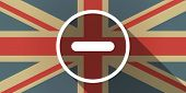 image of subtraction  - Illustration of a UK flag icon with a subtraction sign - JPG